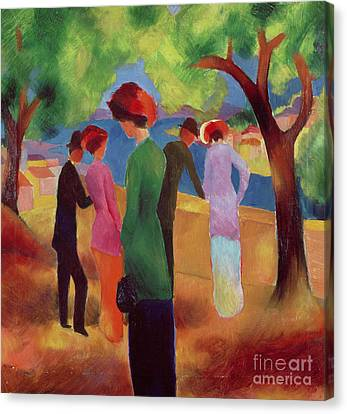 Woman In A Green Jacket Canvas Print by August Macke