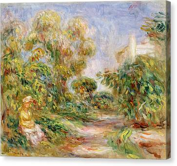 Woman In A Landscape Canvas Print by Renoir