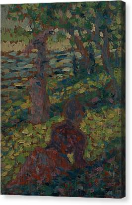 Seurat Canvas Print - Woman In A Park by Georges-Pierre Seurat