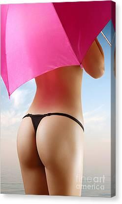 Woman In Bikini With A Pink Umbrella Canvas Print by Oleksiy Maksymenko