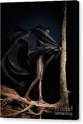 Woman In Black Flying Outfit Canvas Print by Oleksiy Maksymenko