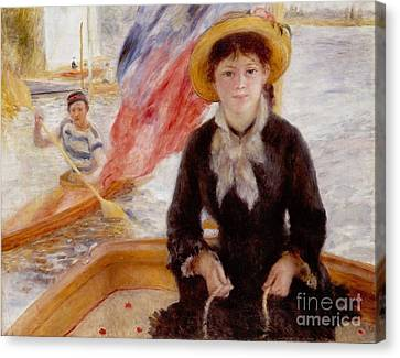 Woman In Boat With Canoeist Canvas Print by Renoir