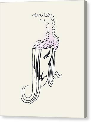 Canvas Print featuring the drawing Woman In Faux Fur Hat by Keith A Link