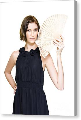 Woman In Formal Dress Holding Oriental Fan Canvas Print by Jorgo Photography - Wall Art Gallery