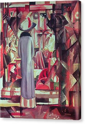 Woman In Front Of A Large Illuminated Window Canvas Print by August Macke