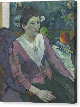 Woman In Front Of A Still Life By Cezanne Canvas Print by Paul Gauguin