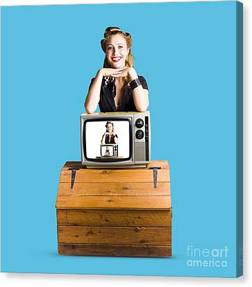 Woman  In Front Of Tv Camera Canvas Print by Jorgo Photography - Wall Art Gallery