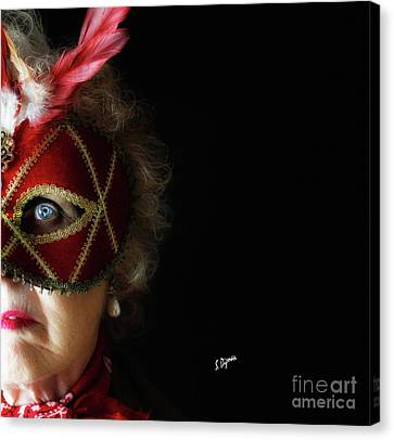 Woman In Mask  Canvas Print by Steven Digman