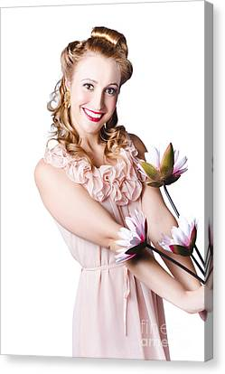 Woman In Negligee With Lillies Canvas Print by Jorgo Photography - Wall Art Gallery