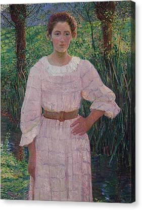Woman In Pink Dress Canvas Print by Cabot Perry