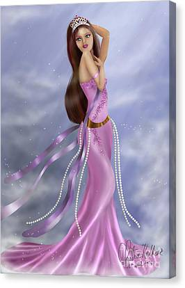 Woman In Pink Gown Canvas Print