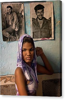 Woman In Purple Havana Cuba Canvas Print