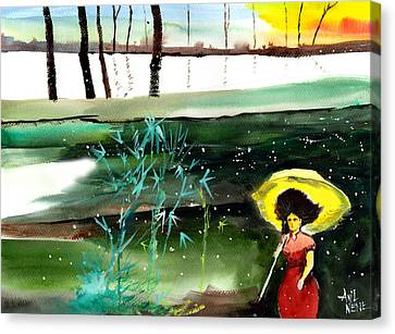 Woman In Red Canvas Print by Anil Nene