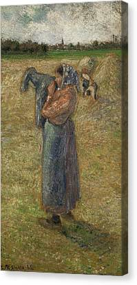 Woman In The Fields, Campesina Canvas Print by Camille Pissarro
