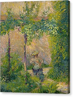 Woman In The Garden Canvas Print by Hippolyte Petitjean