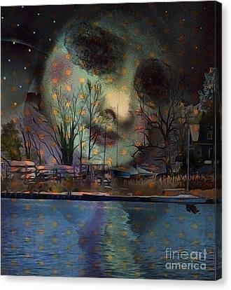 Canvas Print featuring the digital art Woman In The Moon by Alexis Rotella