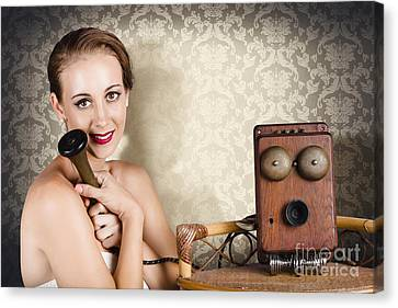 Woman In Vintage Daydream With Operator Phone Canvas Print by Jorgo Photography - Wall Art Gallery