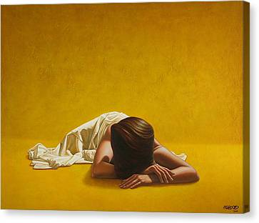 Woman Nude Canvas Print - Woman In Yellow by Horacio Cardozo