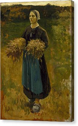 The Gleaners Canvas Print - Woman  by Jules Breton