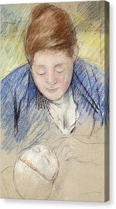 Caring Mother Canvas Print - Woman Leaning Over Baby by Mary Stevenson Cassatt