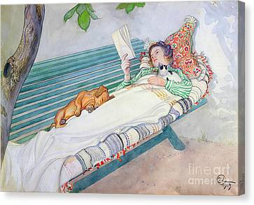 Woman Lying On A Bench Canvas Print