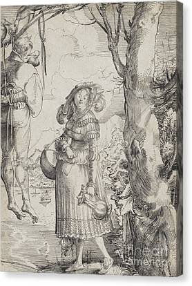 Graf Canvas Print - Woman Near Hanged Man, 1525 by Urs the elder Graf