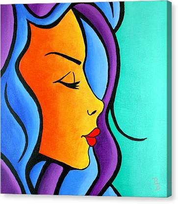 Canvas Print featuring the painting Woman Of Color, Eyes Closed by Bob Baker