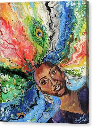 Sikh Art Canvas Print - Woman Of Elements by Sarabjit Singh