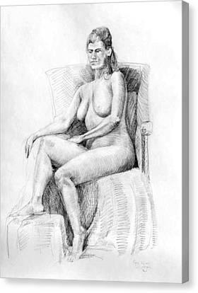 Woman On Chair Canvas Print by Mark Johnson