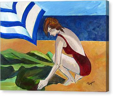 Woman On The Beach Canvas Print by Betty Pieper