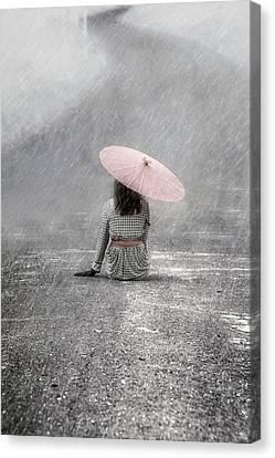 Umbrella Canvas Print - Woman On The Street by Joana Kruse