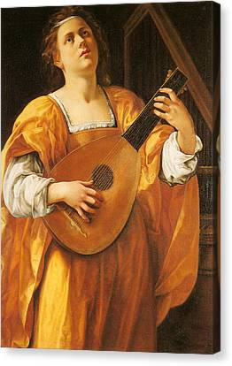 Woman Playing A Lute Canvas Print - Woman Playing A Lute by MotionAge Designs