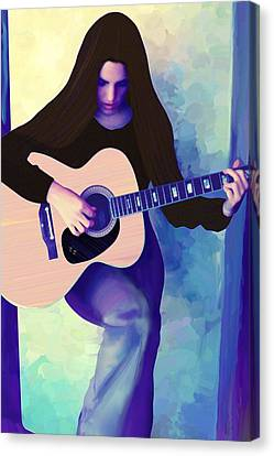 Woman Playing Guitar Canvas Print