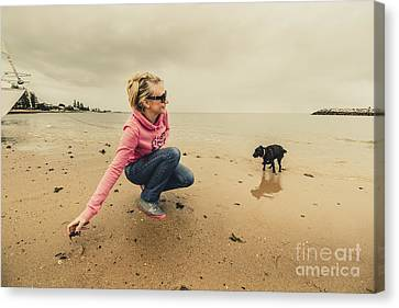 Woman Playing With Dog Canvas Print