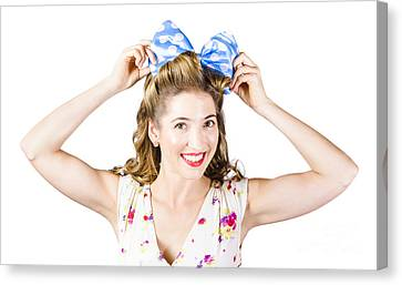 Youthful Canvas Print - Woman Playing With Hair Tie. Retro Accessories by Jorgo Photography - Wall Art Gallery