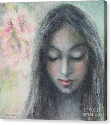 Innocence Canvas Print - Woman Praying Meditation Painting Print by Svetlana Novikova
