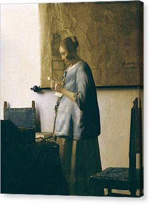 Woman Reading A Letter Canvas Print