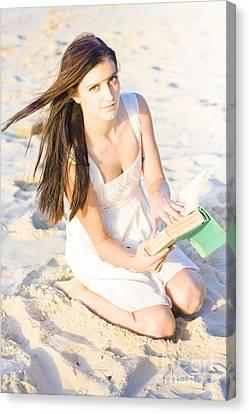 Woman Reading Book Canvas Print