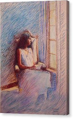 Woman Reading By Window Canvas Print