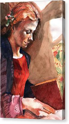 Woman Reading Canvas Print by Ellen Dreibelbis