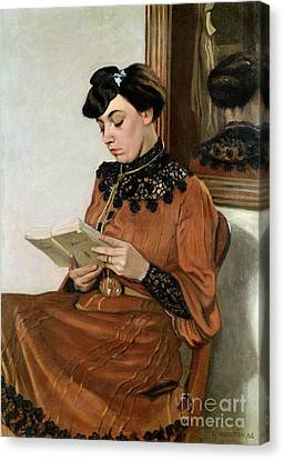 Library Canvas Print - Woman Reading by Felix Edouard Vallotton