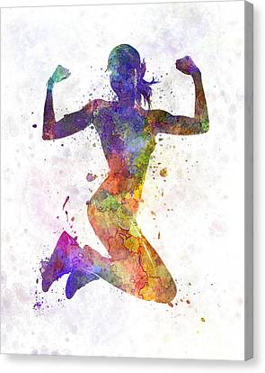 Woman Runner Jogger Jumping Powerful Canvas Print by Pablo Romero
