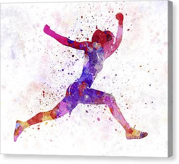 Jogging Canvas Print - Woman Runner Running Jumping Shouting by Pablo Romero