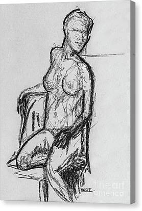 Woman Seated With Outline Canvas Print