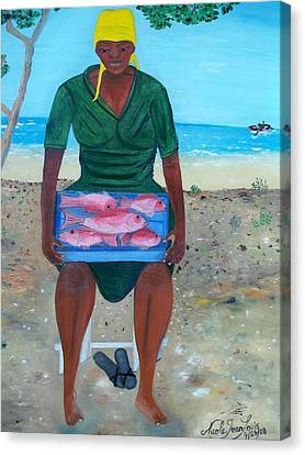 Canvas Print featuring the painting Woman Selling Red Snapper by Nicole Jean-louis