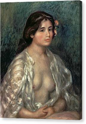 Woman Semi Nude Canvas Print by Pierre Auguste Renoir