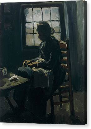 Working Women Canvas Print - Woman Sewing by Vincent van Gogh