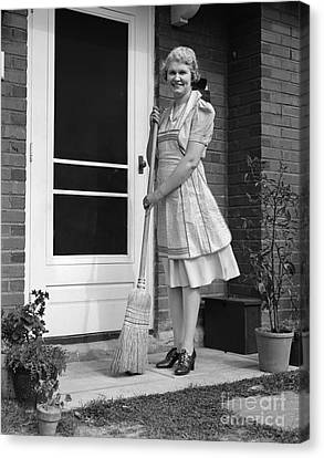 Woman Smiling With Broom, C.1940s Canvas Print