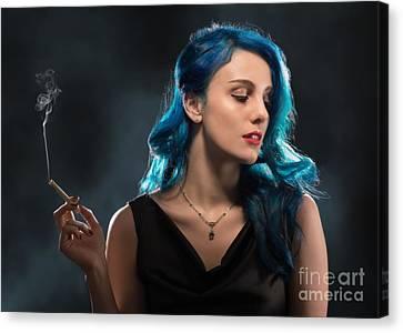 Woman Smoking A Cigarette Canvas Print by Amanda Elwell