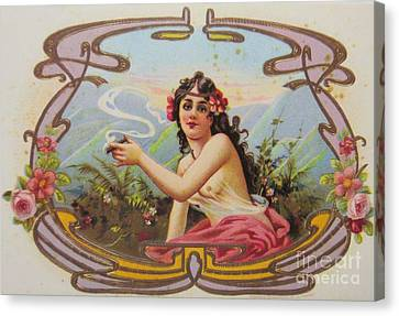 Woman Smoking Cigar Canvas Print by Pd